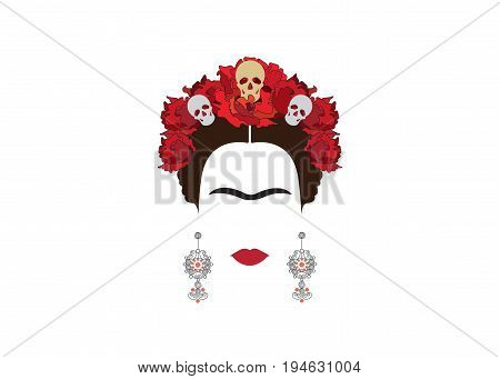 inspiration Frida Kahlo, portrait of Mexican woman with skulls , Mexican crafts earrings and red flowers, inspiration Santa Muerte in Mexico and Catrina, vector illustration isolated