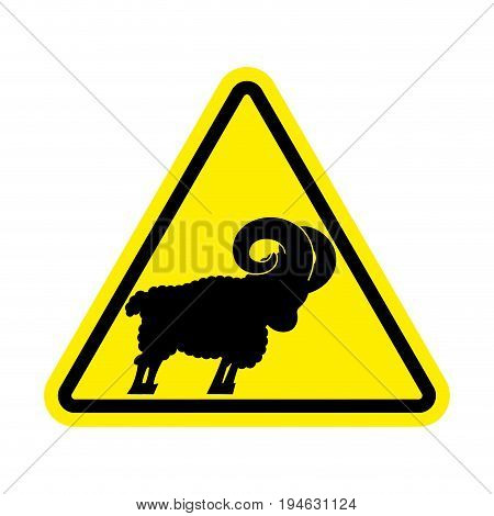 Attention Ram. Caution Farm Animal Sheep. Yellow Prohibitory Road Sign