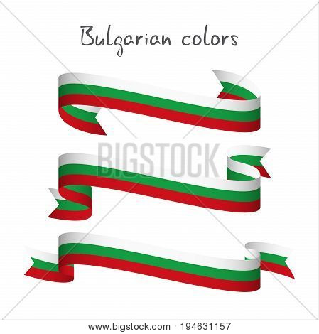 Set of three modern colored vector ribbon with the Bulgarian tricolor isolated on white background abstract Bulgarian flag Made in Bulgaria logo