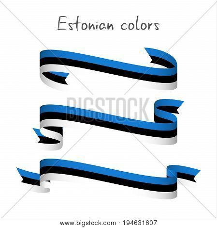 Set of three modern colored vector ribbon with the Estonian tricolor isolated on white background abstract Estonian flag Made in Estonia logo