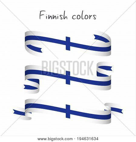 Set of three modern colored vector ribbon with the Finnish colors isolated on white background abstract Finnish flag Made in Finland logo