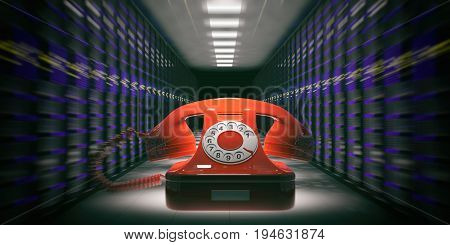 Data Center - Computer Room And A Vintage Phone. 3D Illustration