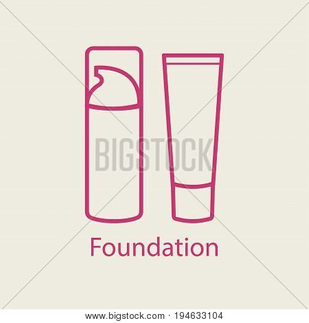 Foundation face cream line icon. Thin linear signs for makeup and visage. Cosmetic product of BB concealer cream bottle.