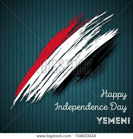 Yemen Independence Day Patriotic Design. Expressive Brush Stroke In National Flag Colors On Dark Str