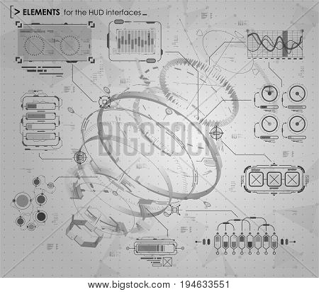 black and white infographic elements. HUD UI for business app. Futuristic user interface. Abstract virtual graphic touch user interface. UI hud infographic interface screen monitor set web