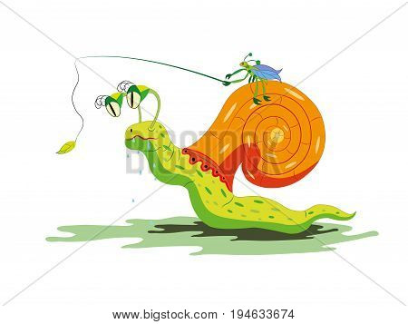 The bug goes on a snail and teases her with food
