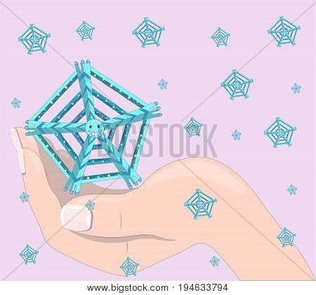 The hand of the person holds a ridiculous snowflake