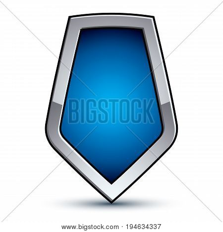 Heraldic vector blue emblem with silver outline 3d conceptual defense geometric badge isolated on white background. Eps8 silver escutcheon isolated on white background. Dimensional decorative coat of arms.