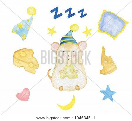 Set of hand-drawn watercolor cute mouse with nightcap, pillows, yellow moon and stars, cheese and zzz sign