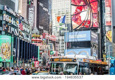 NEW YORK CITY - SEPTEMBER 17 2016: Times Square featured with Broadway Theaters and LED signs is a symbol of New York City and the United States
