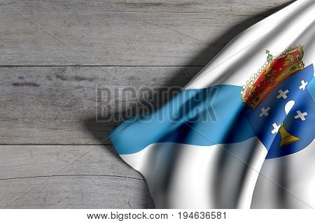 Galicia Flag On Wood