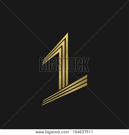 First place symbol. Creative original number one emblem for sport or business award ceremony, golden victory sign