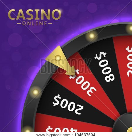 Magic black wheel of fortune. Casino online, money prize