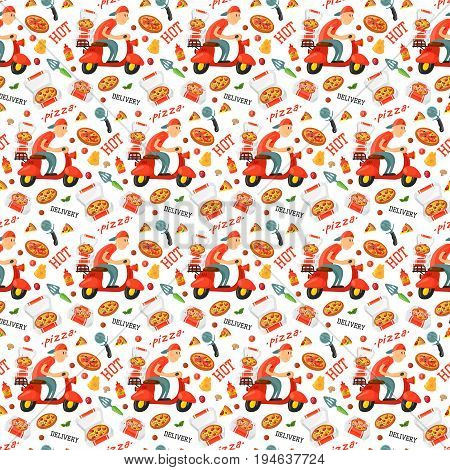 Vector pizza restaurant delivery boy pizzeria service seamless pattern background.
