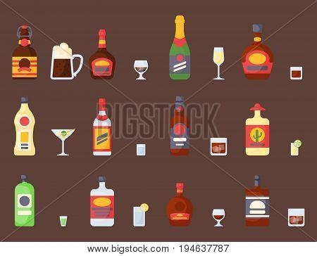 Alcohol drinks beverages cocktail whiskey bottle lager different glasses vector illustration.  tequila rum cognac.