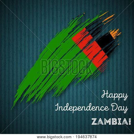 Zambia Independence Day Patriotic Design. Expressive Brush Stroke In National Flag Colors On Dark St