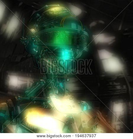 3D Illustration Of A Cyborg Head
