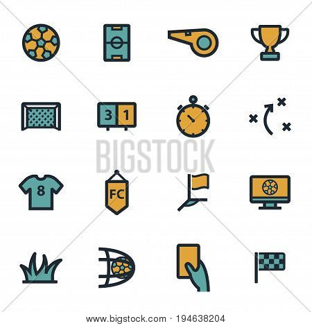 Vector flat soccer icons set on white background