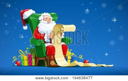 Santa claus sit in armchair and read letter. Christmas character with gift. Winter holiday. Isolated white background. Vector illustration.