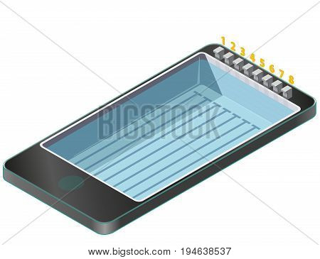 Isometric swimming pool in mobile phone. Sports in communication technologies, paraphrase. Pool with water jumping springboards on white background. Pictogram element set. Isolated vector illustration