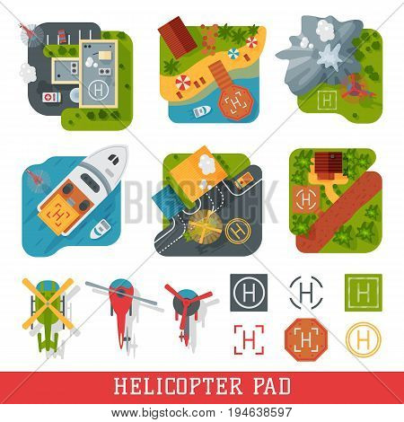 Helicopter pad landing area platform vector top view illustration.