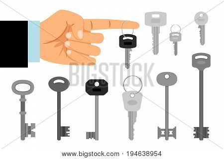 Keys hanging on finger vector illustration. Hand hold key and keys collection isolated on white background