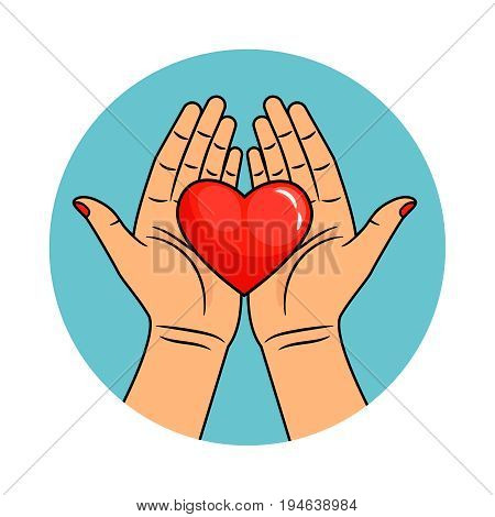 Hands and heart icon. Helpful and caring hands, kindness and charity sign, donation and love symbol vector illustration