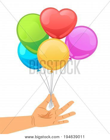 Balloon set in human hand vector illustration. Hand holds bunch of brightly helium balloons isolated on white background