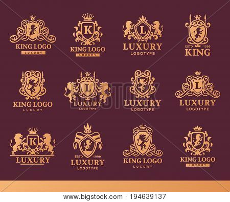 Luxury boutique Royal Crest high quality vintage product heraldry logo collection