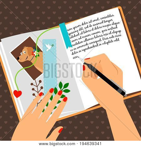 Girls diary with writing secrets vector illustration. Open notepad scheduler with bookmark and dog photo