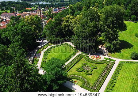 HLUBOKA NAD VLTAVOU CZECH REPUBLIC - JULY 05 2016: Regular garden of Schwarzenberg clan manor