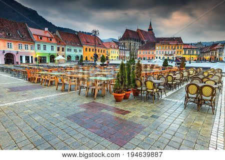 The best Transylvanian touristic town. Beautiful paved city center with street cafe bar and restaurant Brasov Transylvania Romania Europe