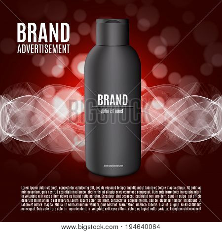 Premium shampoo ads. Realistic cosmetic bottle for shampoo, lotion or foam on a red bokeh background. Premium cosmetic design for ads or magazine. 3d illustration. EPS10 vector