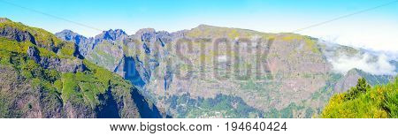 Mountain landscape. View of mountains on the route Encumeada - Boca De Corrida, Madeira Island, Portugal, Europe.