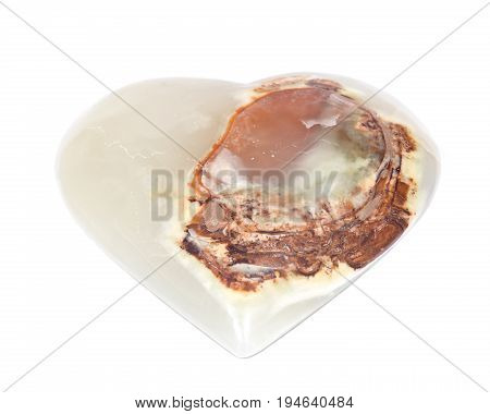 Polished multicolor carved onyx heart isolated on white background