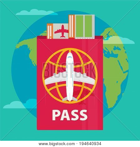 Vector modern flat design web icon on airline tickets and travel with jet airliner flying passport boarding pass ticket and globe with clouds. Airfare booking square printable