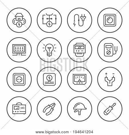Set round line icons of electricity isolated on white. Vector illustration