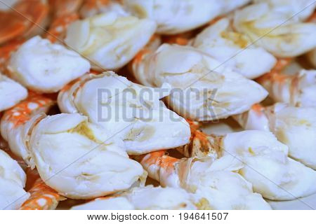 Closed up Mouthwatering Heap of Steamed Flower Crab Meats, with Selective Focus