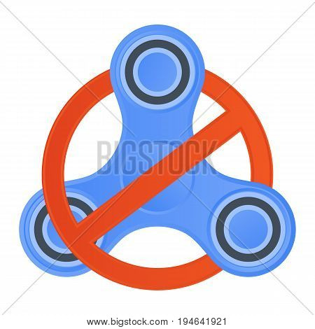 Vector icon. Banned to use a fidget spinner.
