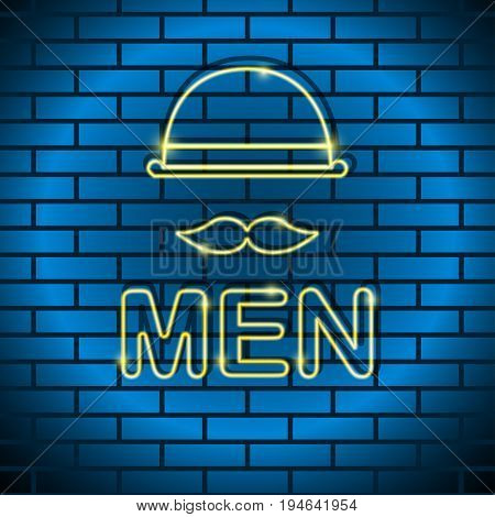 Neon lamp yellow color in the form of a man with a mustache a bowler hat on a brick wall Trendy postcard template text place copy space