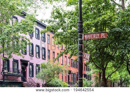 Historic Waverly Place street scene in the West Village neighborhood of Manhattan New York City NYC
