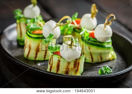 Closeup Of Finger Food Made Of Fresh Ingredients