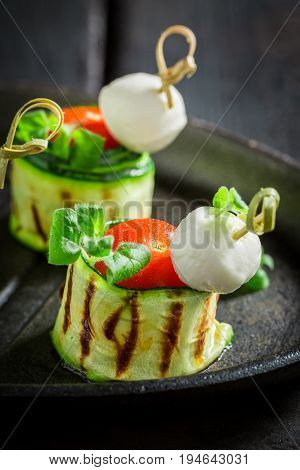 Delicious Various Finger Food Made Of Fresh Ingredients For Party