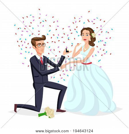 Bride And Groom As Love Wedding Couple Illustration. Cartoon Husband And Romantic Wife Ceremony, Fem