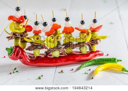 Banderillas With Peppers, Olives And Anchovies For Spanish Corrida