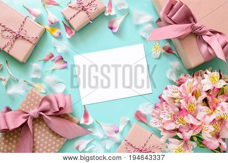 Mother's Day Valentine's Day Birthday or other suitable event celebration card concept flat lay view from above space for a text