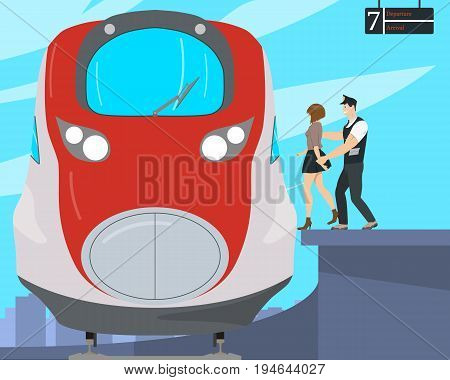 The girl decided to commit suicide but the watchful guard did not let her do it. Vector illustration