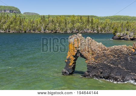 Sea Lion Rock Formation - A stone arch on Lake Superior.