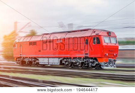 Modern Diesel Locomotive Train Railway In Motion Speed, Shunting Work