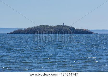 Trowbridge Island Lighthouse on Lake Superior in Ontario Canada.